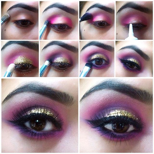 pink amp deep purple smokey eye trusper