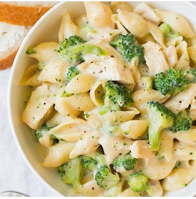 Creamy Broccoli Chicken Shells And Cheese.