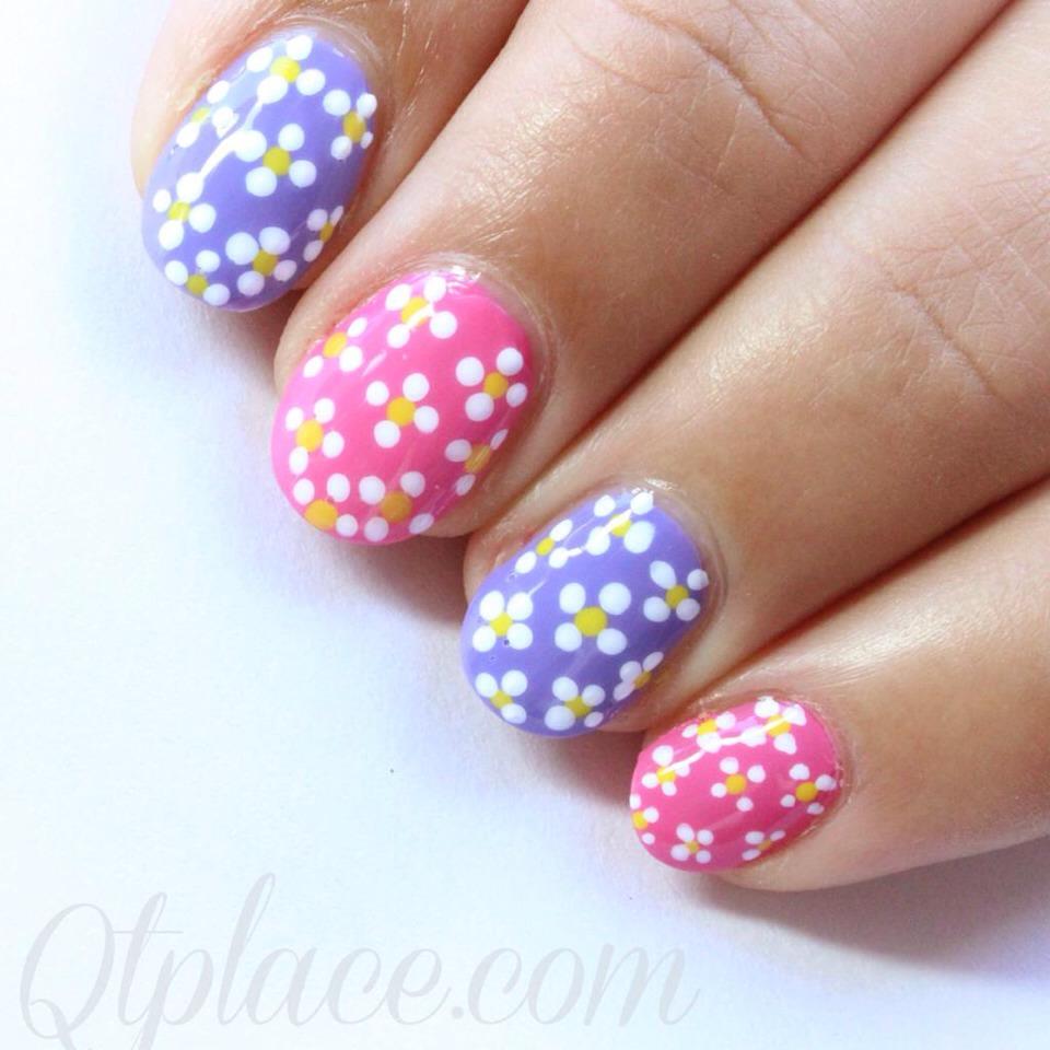 Легкий цветок дизайн ногтей