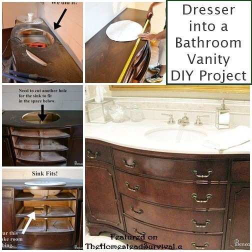 10 likes for Turning a dresser into a bathroom vanity