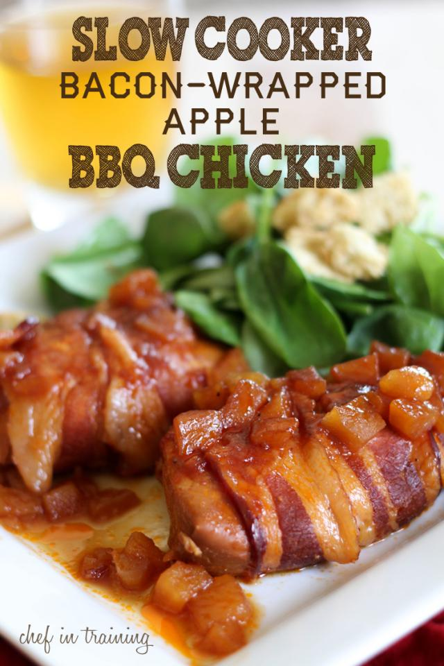... -in-training.com/2012/09/slow-cooker-bacon-wrapped-apple-bbq-chicken
