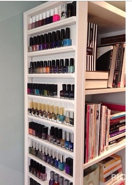 add trim to a shelving unit for nail polish trusper. Black Bedroom Furniture Sets. Home Design Ideas