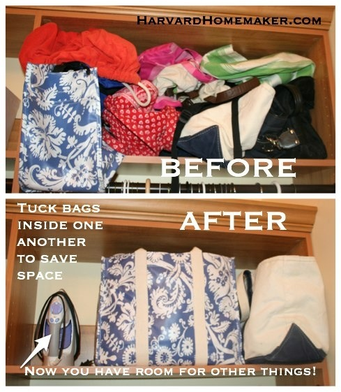 Easy way to store bags to save space trusper for Save room net