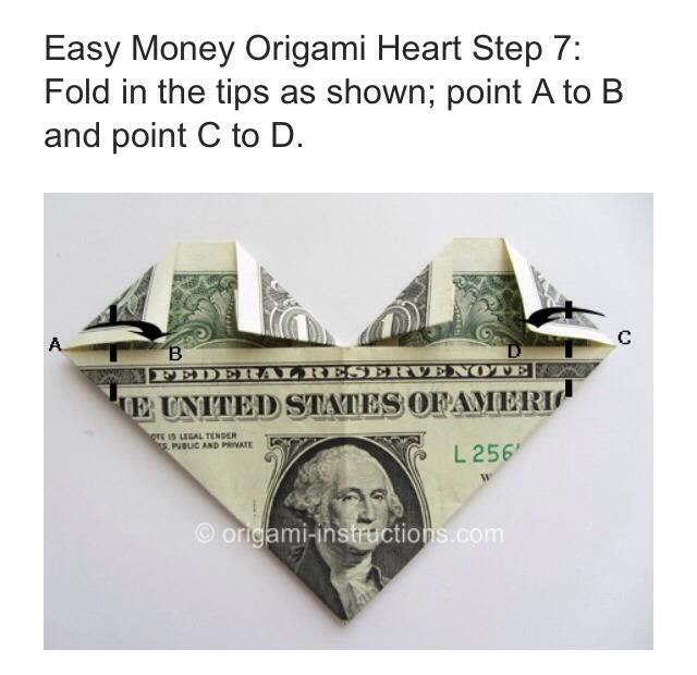 easy dollar bill origami heart ��� trusper