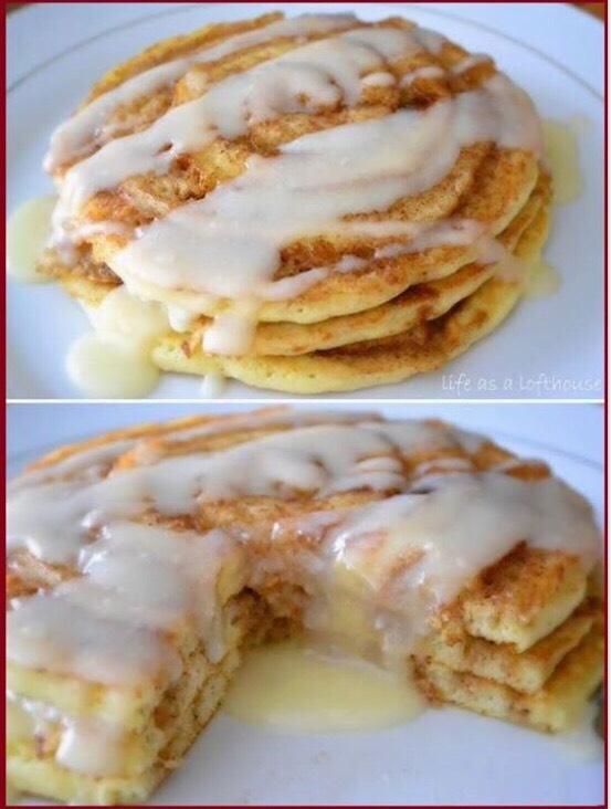 Cinnamon Role Pancakes! 😍❤️