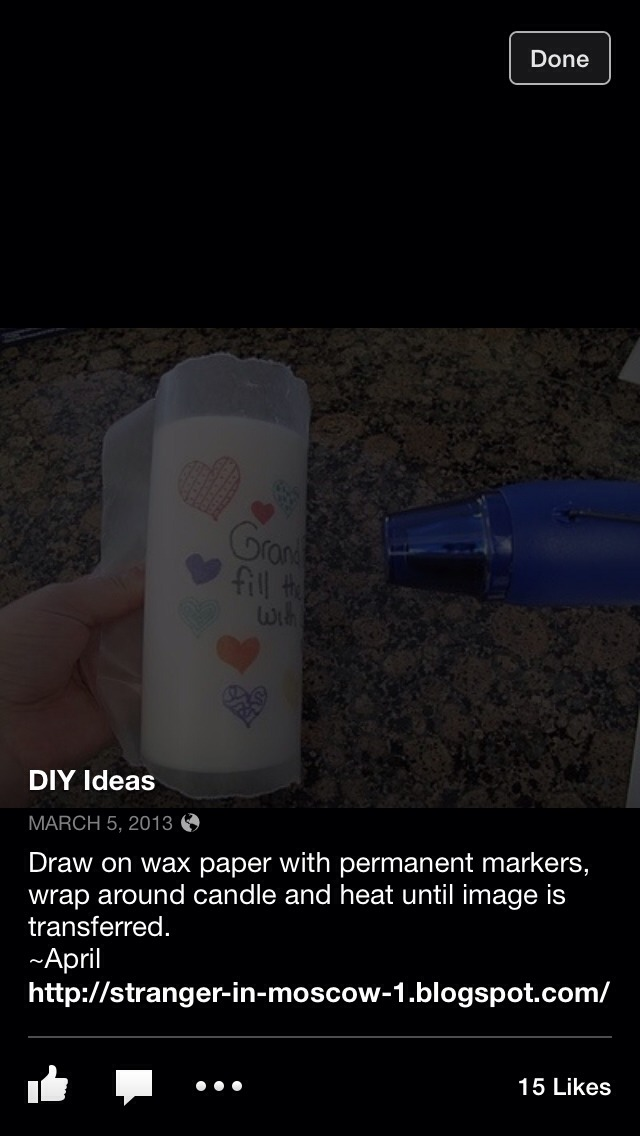 Draw on wax paper with permanent marker wrap around candle for Drawing on wax paper