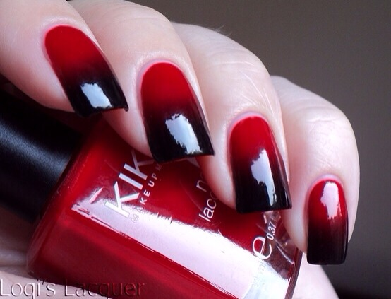 Red And Black Ombre Nails Red And Black Ombre Nails