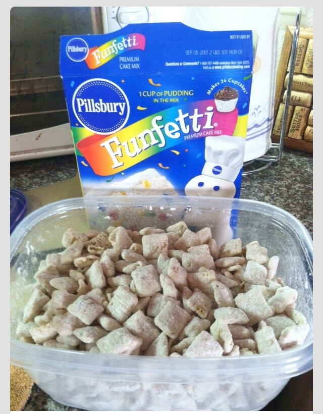 Cake Batter Puppy Chow With Frosting