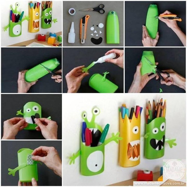 Turn Kids Empty Shampoo Bottles Into Cute Monster Pencil/marker Storage