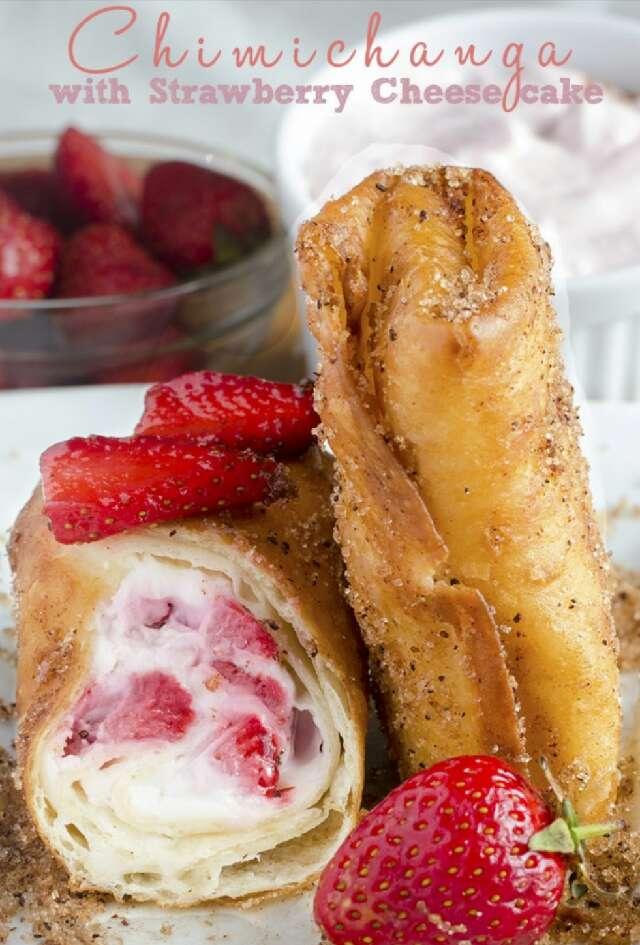 Strawberry Cheesecake Chimichangas!