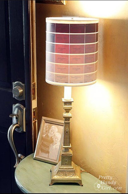 Paint chip lamp shadetack on paint chips to a lamp shade for a one of a kind fixture - Lamp shades diy ...