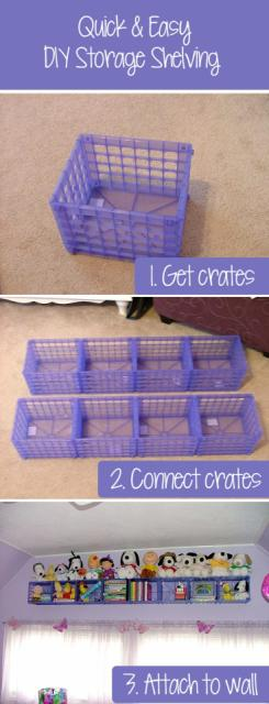 Make A Storage/Shelf With Plastic Crates For Kids Room For $16