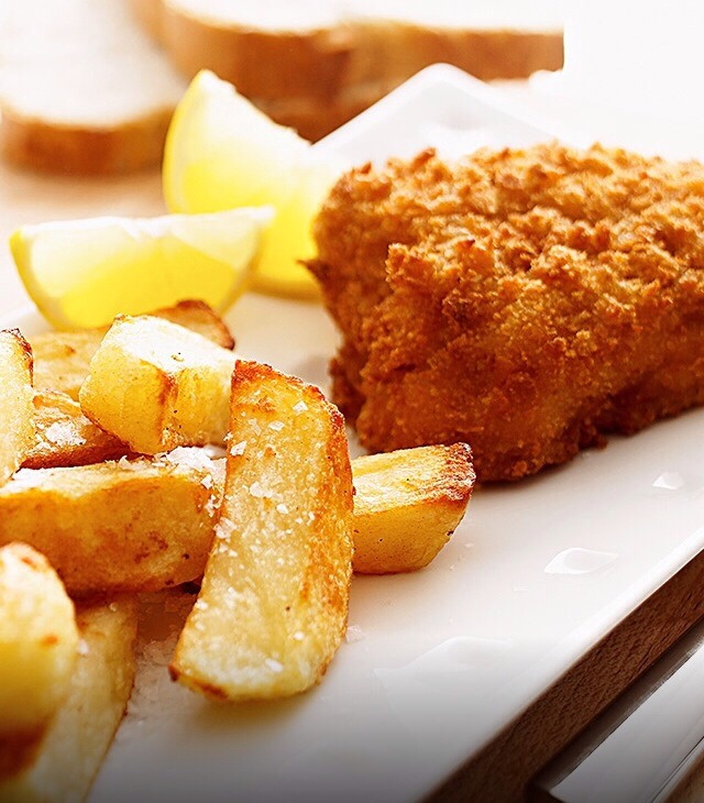 crispy fish and chips for half calories trusper. Black Bedroom Furniture Sets. Home Design Ideas