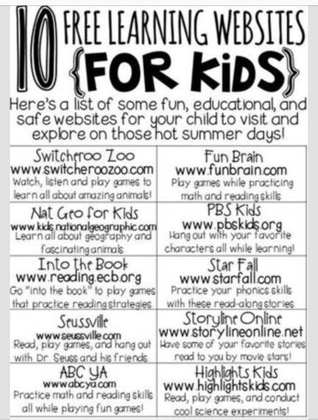 10 FREE Learning Websites For Kids!!!
