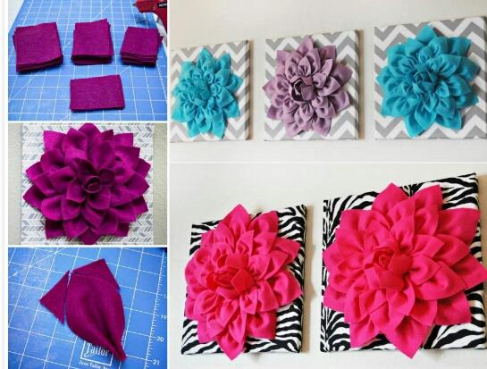 DIY 3D felt dhalia flower wall art♥super pretty..