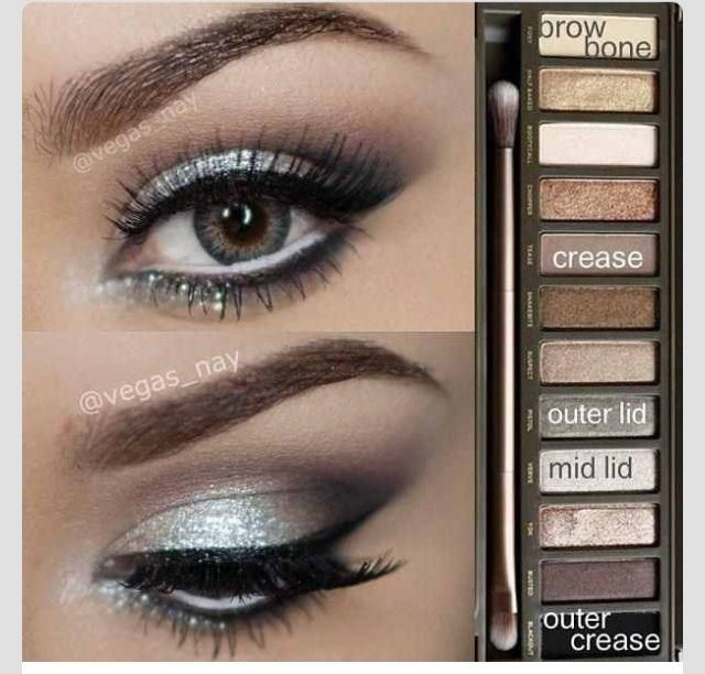 Silver Smokey Eye Using Urban Decay Naked 2 Palette   Trusper