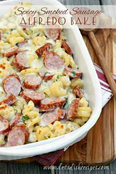 🌟Spicy Smoked Sausage Alfredo pasta bake🌟