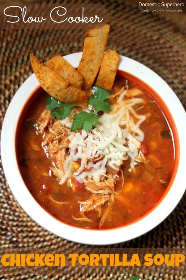 Slow Cooker Chicken Tortilla Soup #tipit | Trusper