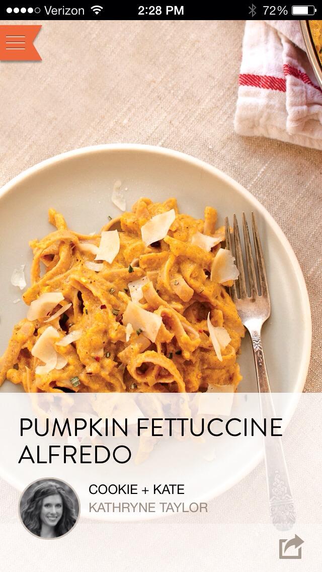 Pumpkin Fettuccine Alfredo!!