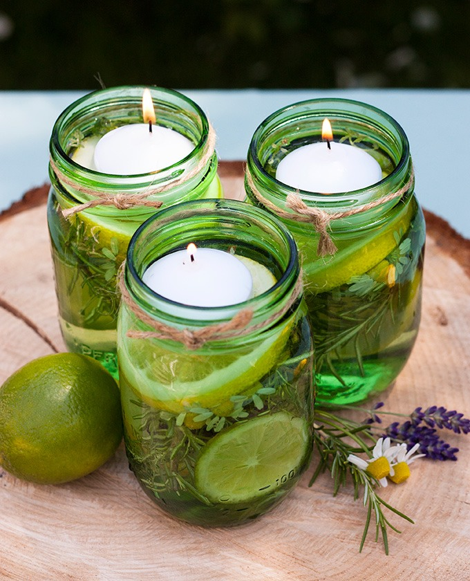 • Mason jars• Floating candles• Lemons and limes• Citronella ...