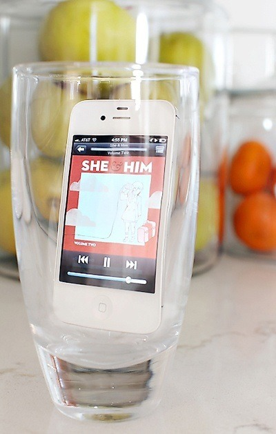 Put Your Phone In A Glass To Make The Music Loud Enough To Fill The Room.