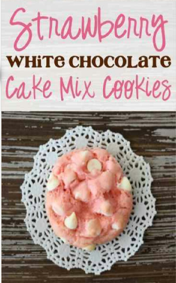 Strawberry White Chocolate Cake Mix Cookies!