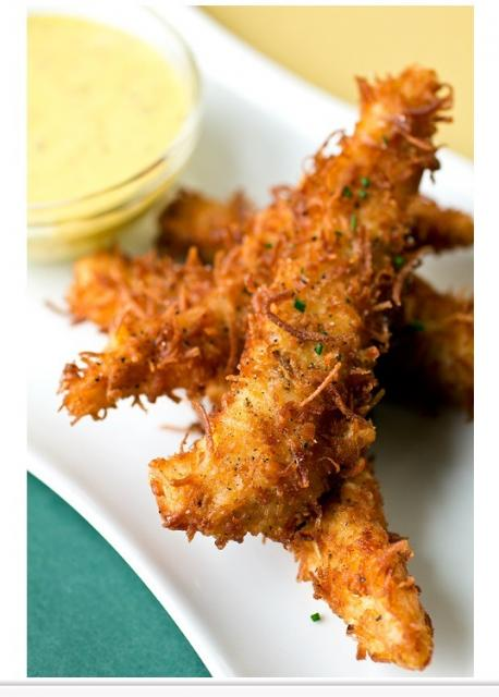 Coconut Crunch Chicken Strips With Creamy Honey Mango Dipping Sauce ...