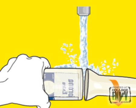 Step 4 – After you hear the crack, pour cold water on the string and the top of the bottle will fall off.