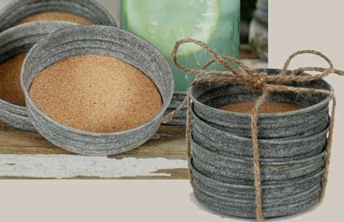 Diy coasters from mason jar lids trusper for Diy rustic coasters