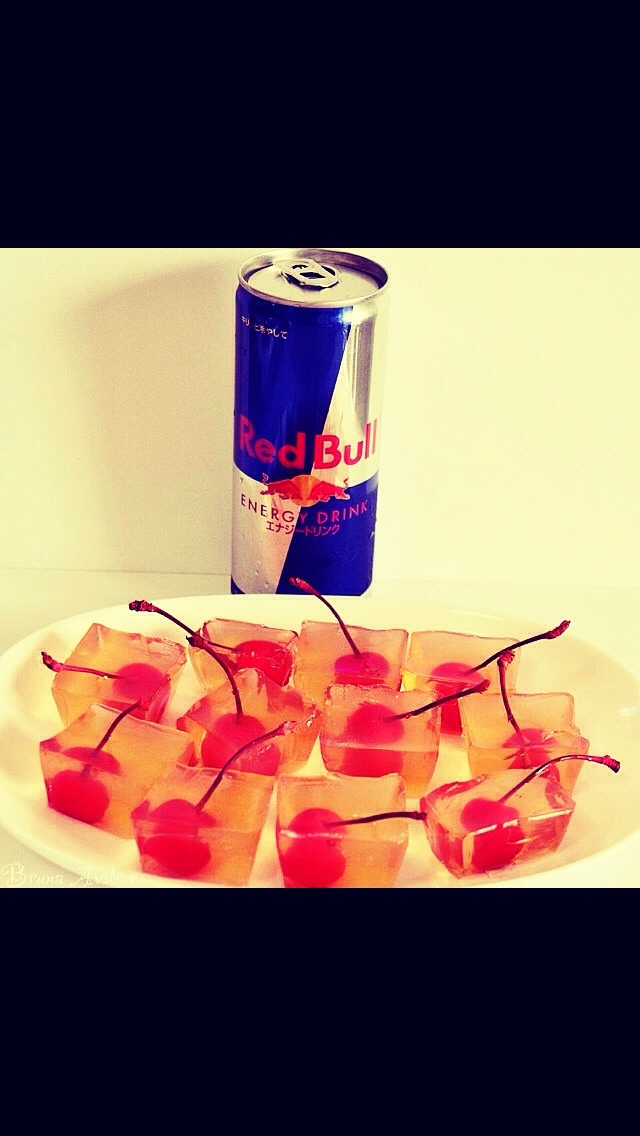 bull1/2 of gelatine Pack of glacier cherries Mix the vodka , red bull ...