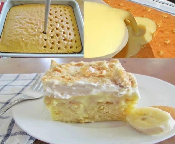 Yellow Cake Poke Holes Banana Pudding