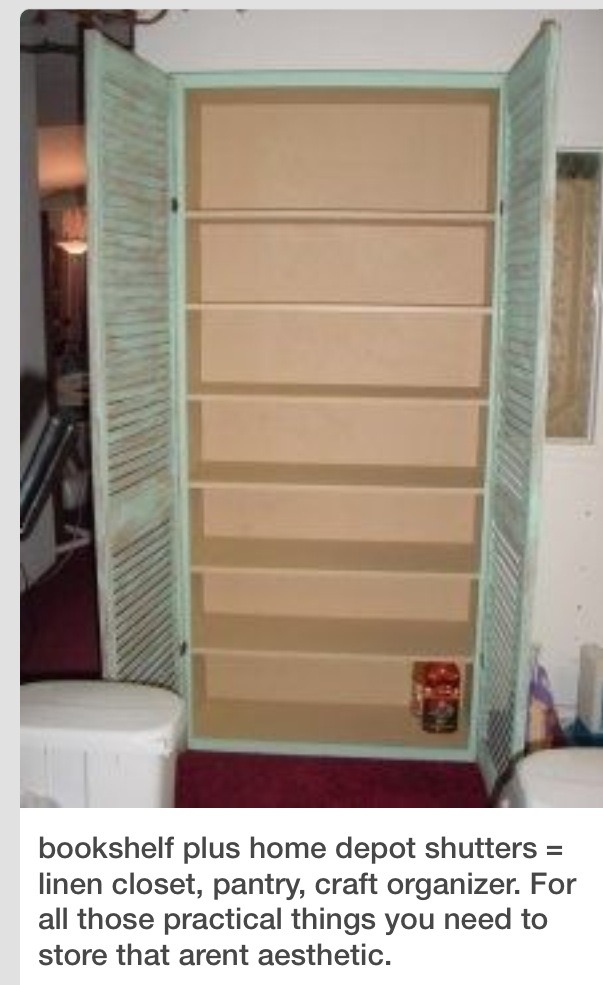 diy pantry storage cabinet using a book shelf and shutters