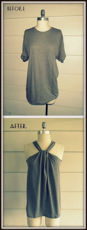 Turn And Old Shirt Into A Cute Tie Halter Top!!
