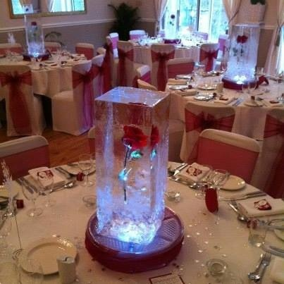 Freeze roses into blocks for wedding table centre piece for Beauty on table