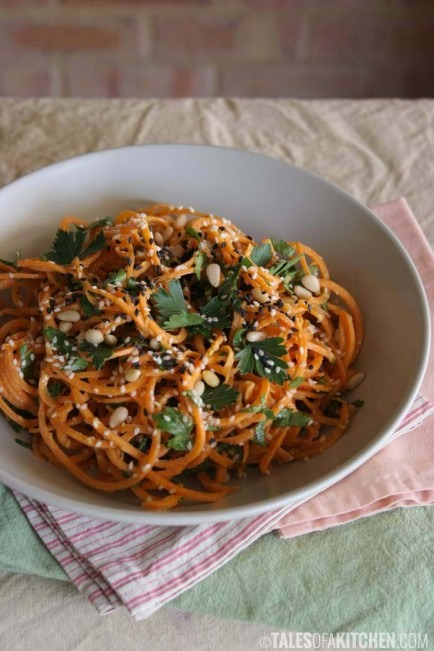 Carrot Pasta with a Creamy Zesty Garlic Sauce!!