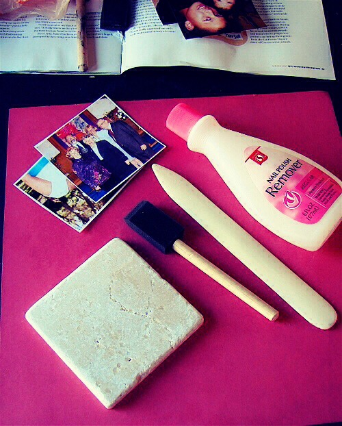 """Nail Polish Remover"" Use It To Transfer Pictures Onto A Tile."