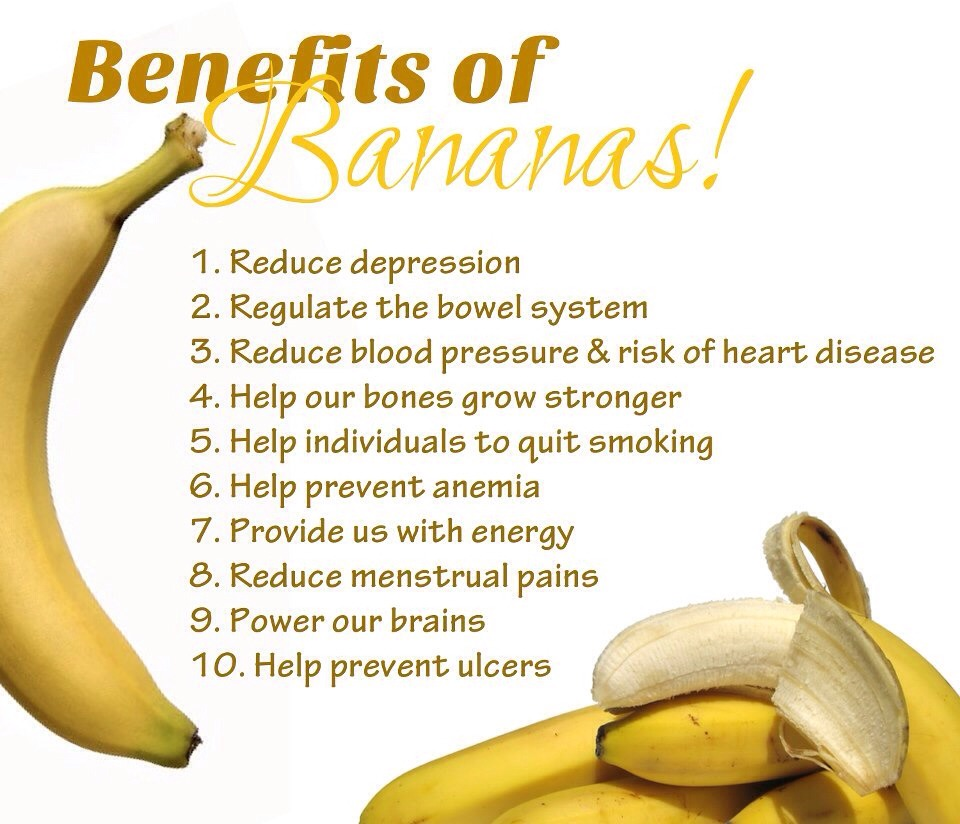 ... Bananas reduce swelling, protect against type II diabetes, aid weight