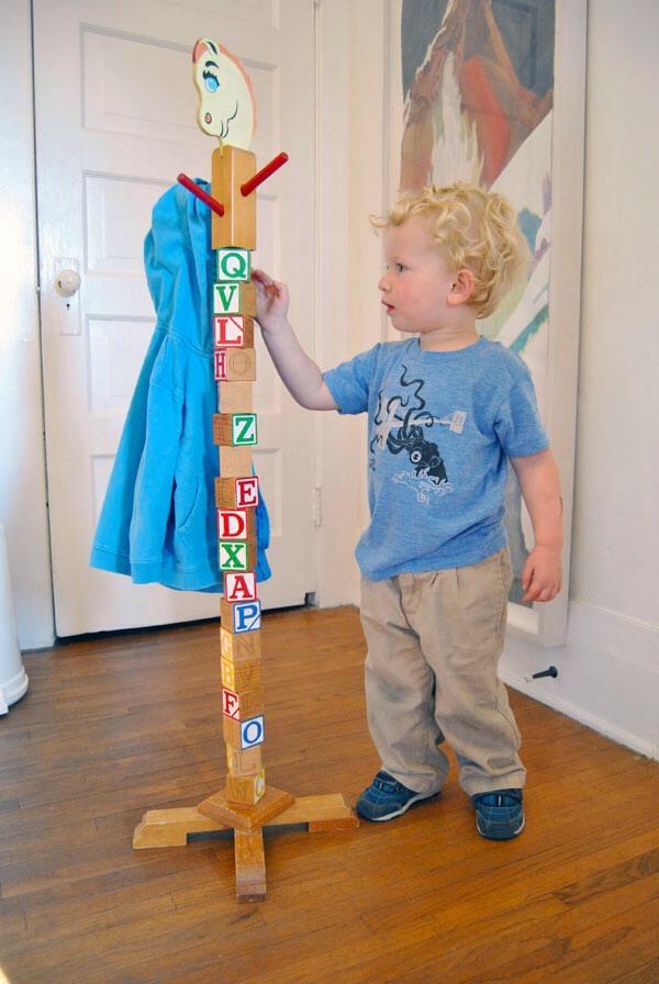 Diy Kids Coat Rack Made Of Blocks Kids Can Help Too