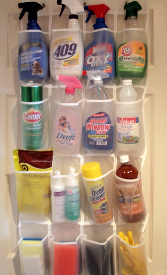 If U Have An Old Over Door Shoe Holder Place On Pantry Door An U Can Use It2Store Cleaning Products