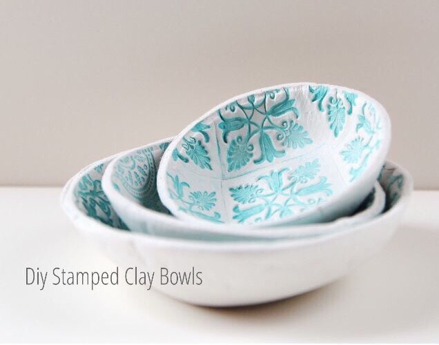Easy DIY Stamped Clay Bowls!!