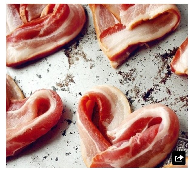Valentines Breakfast! Heart Bacon. Yummy!