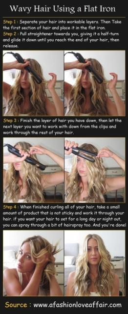 Wavy Hair Using A Flat Iron Tutorial