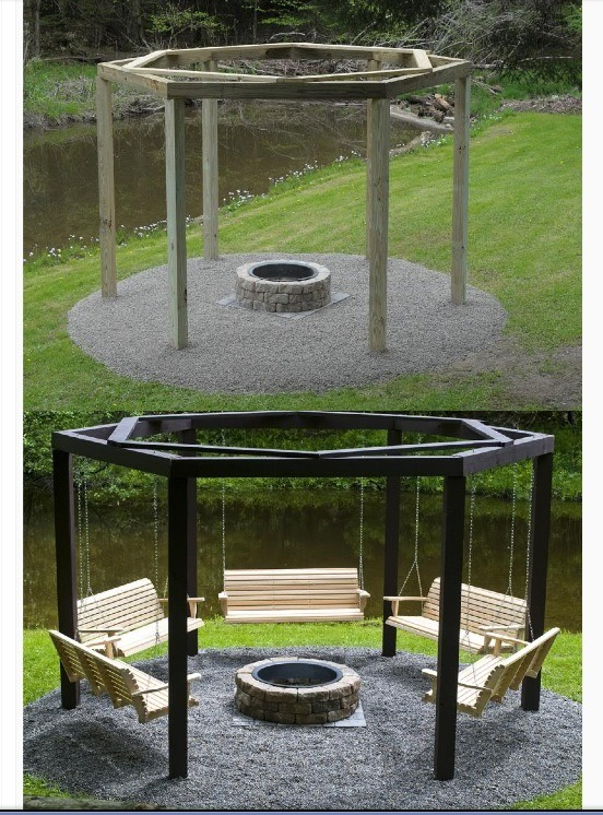 Bench Swings Around Fire Pit Diy Swinging Bench Fire Pit