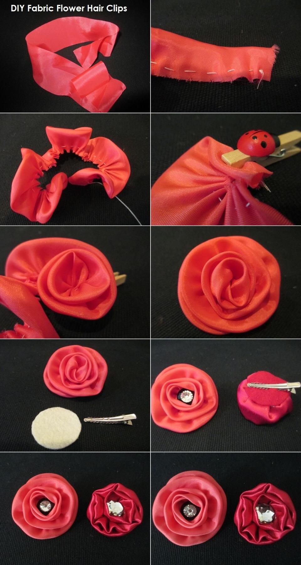 Как с ткани сделать цветок пошагово