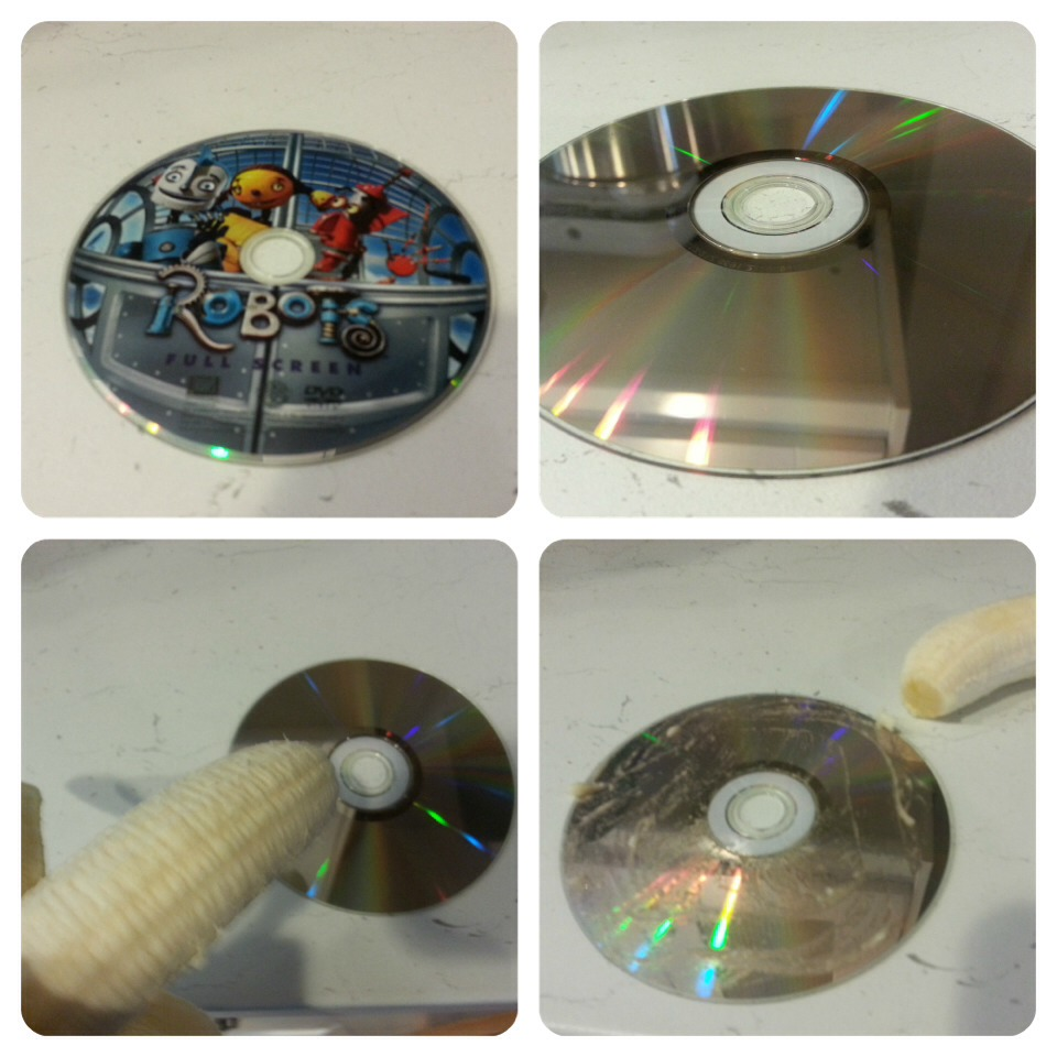 how to fix scratched dvds with a banana