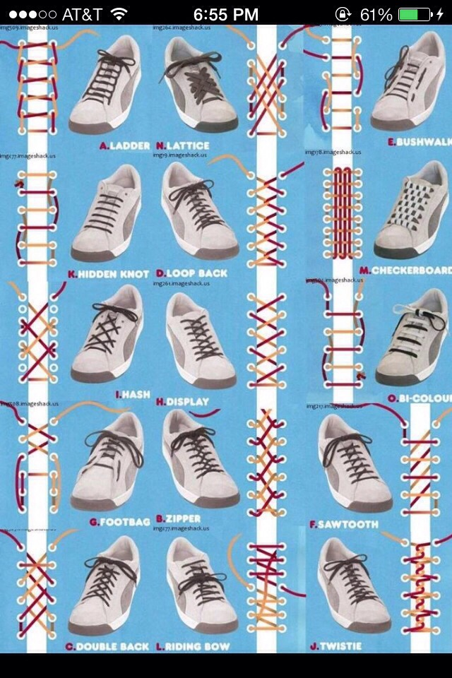 Awesome Ways To Tie Your Shoes 15 ways to tie your shoe laces