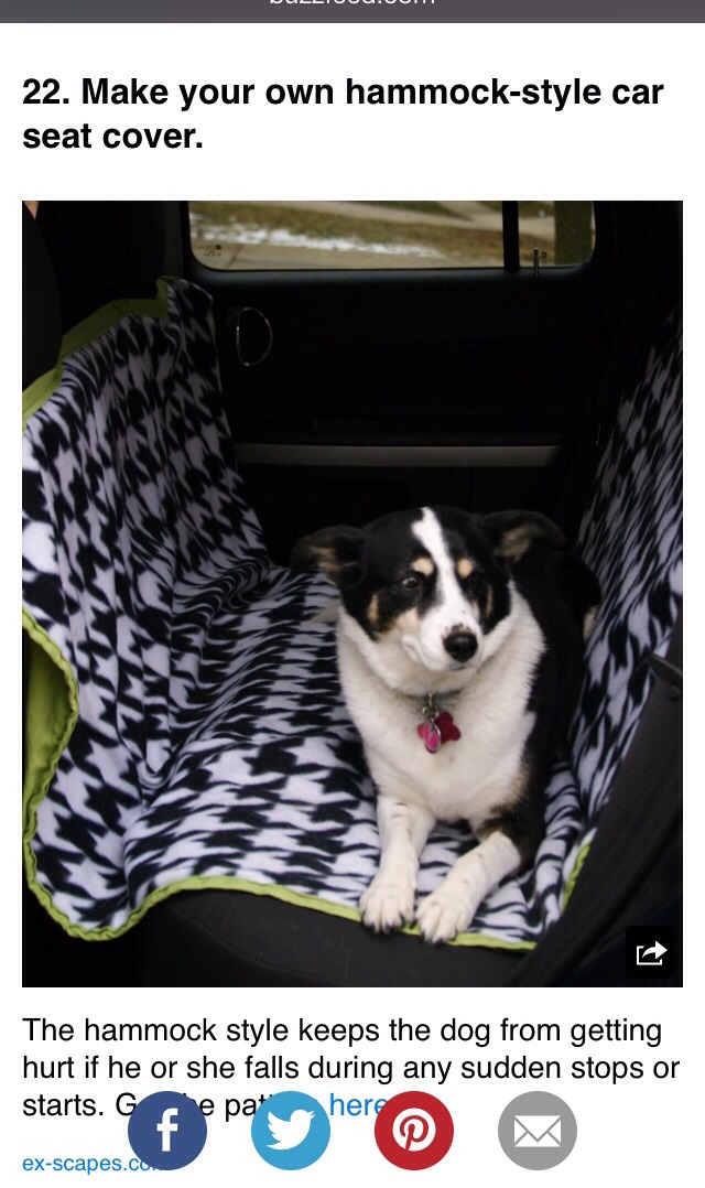 Make Your Own Dog Car Seat Cover