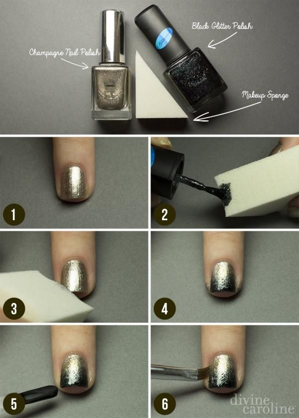 Ombre Nails Black Black And Gold Ombre Nails