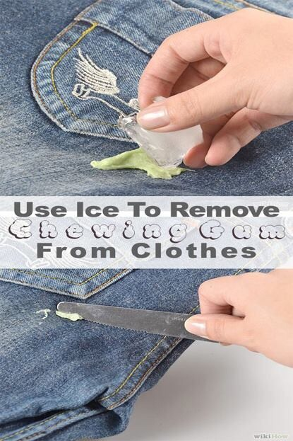 Use ice to remove chewing gum from clothes trusper - Remove chewing gum clothes fabric ...