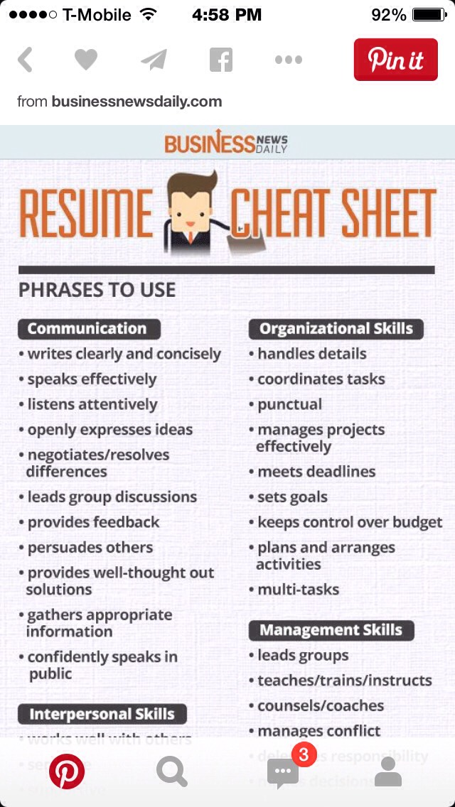 🎀Resume Cheat Sheet🎀